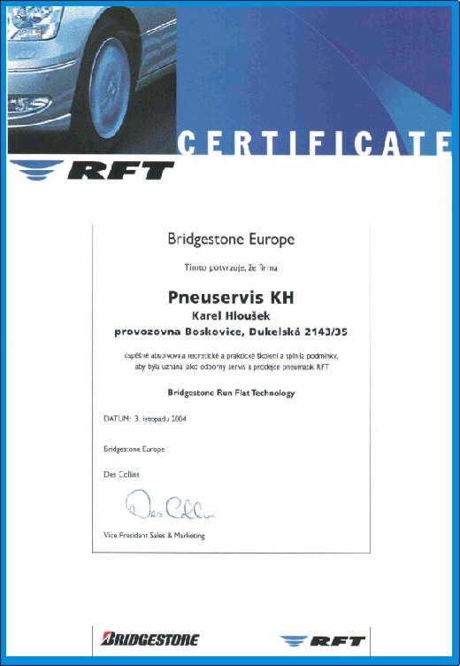 ccertifikát BFD RFT